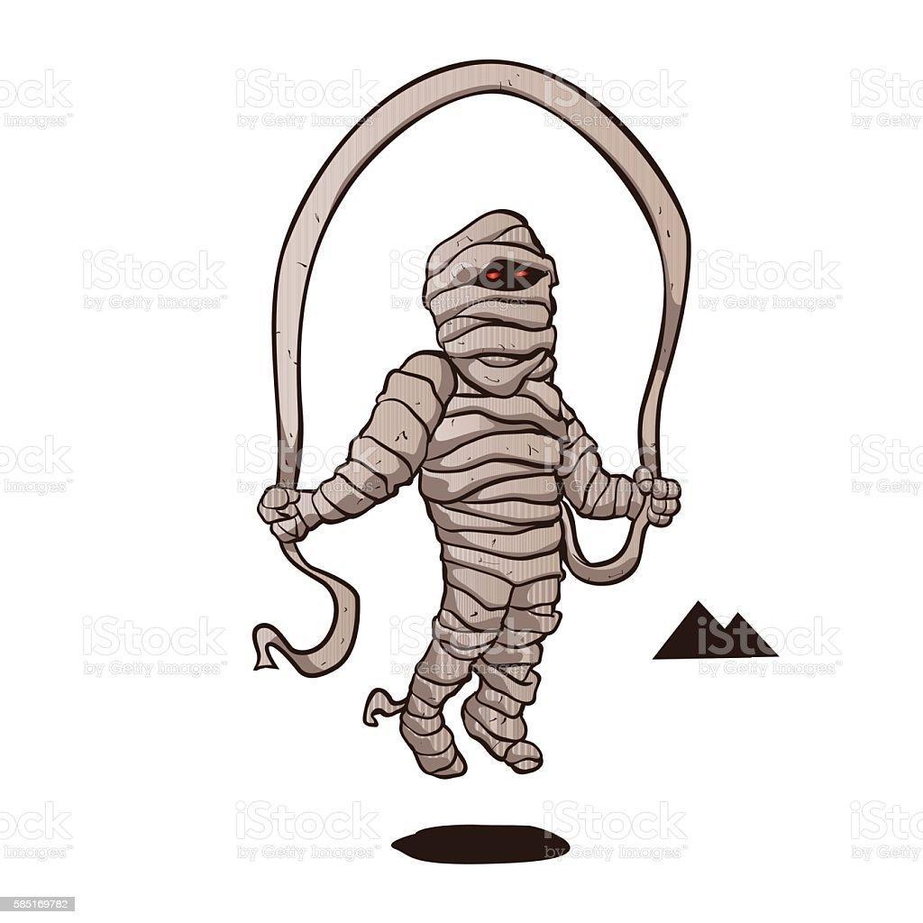 mummy jumping rope. vector art illustration