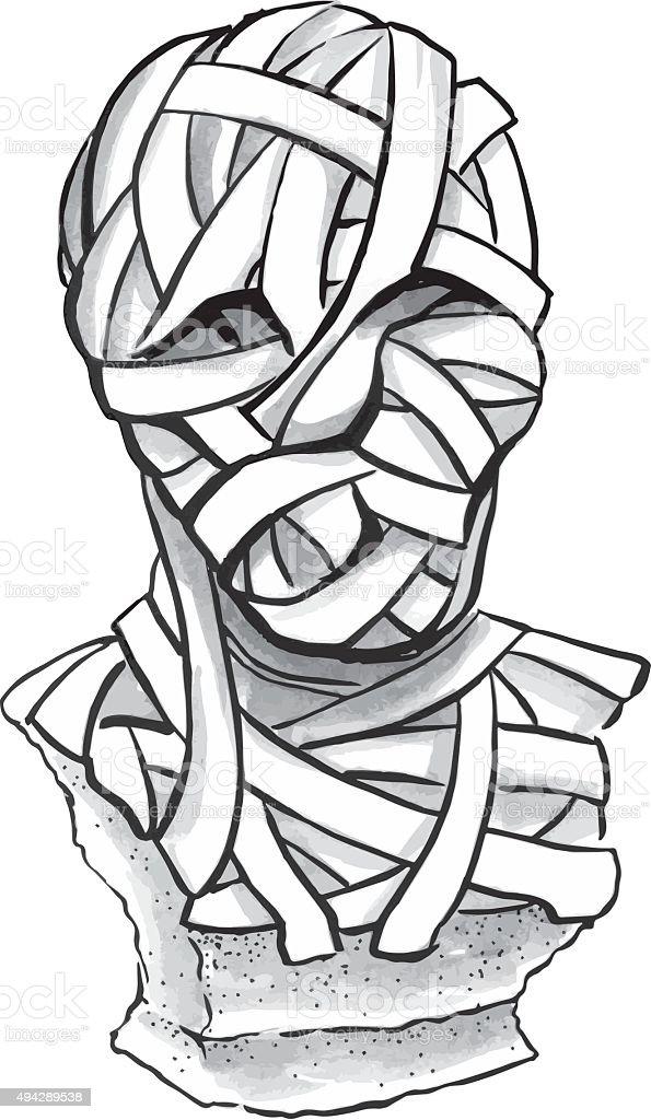 Mummy statue vector art illustration