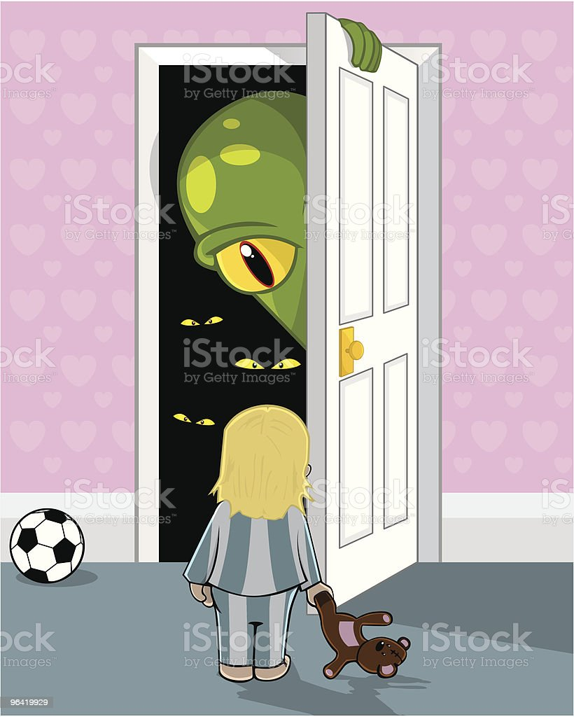 Mummy, there's a monster in my cupboard vector art illustration