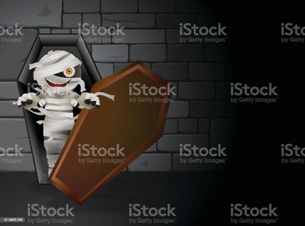 mummy tomb vector art illustration