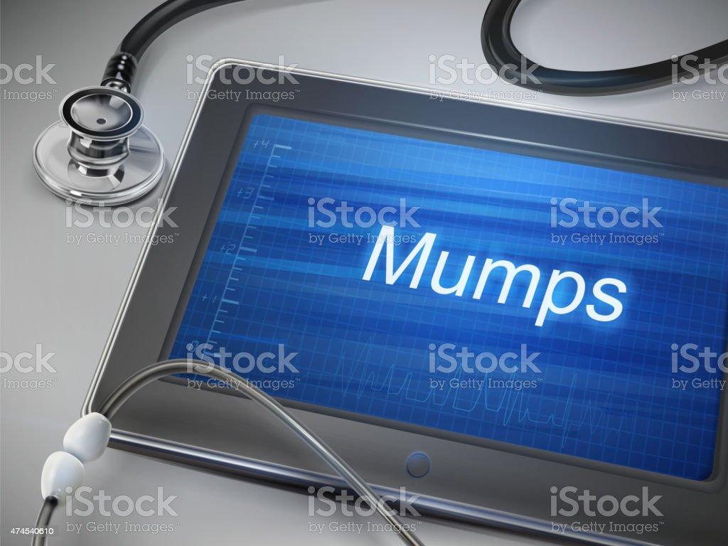 mumps word displayed on tablet vector art illustration