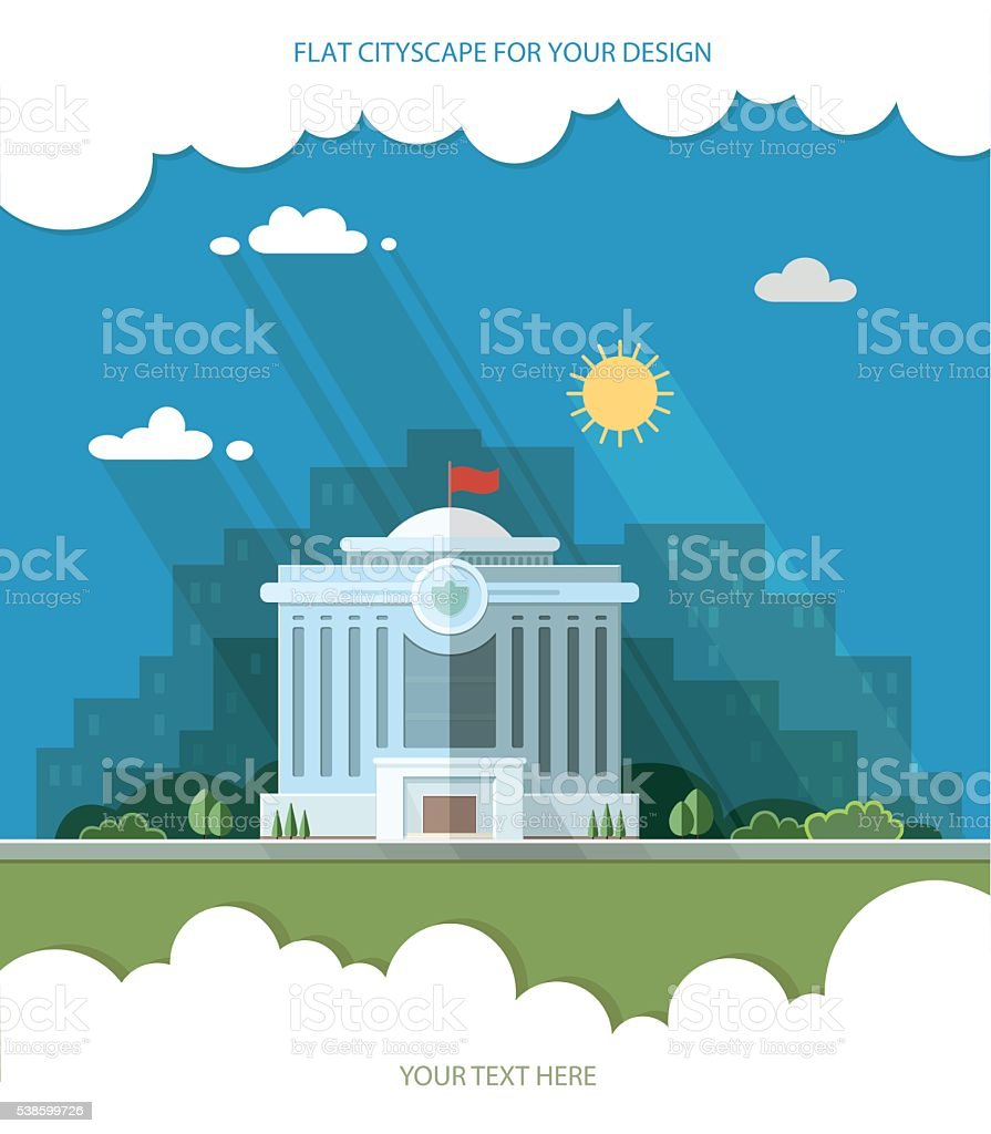 municipal building, City Hall, the Government, the court vector art illustration