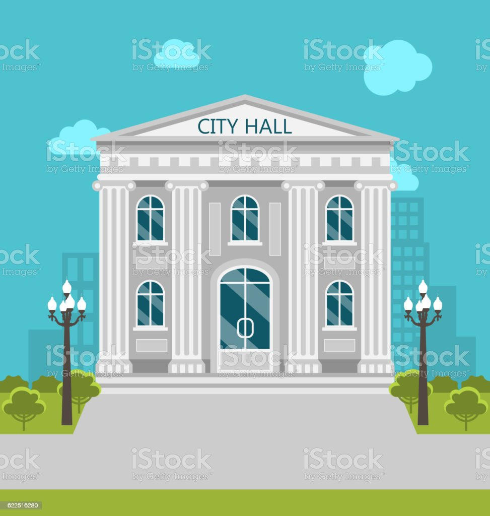Municipal Building, City Hall, the Government, the Court. vector art illustration