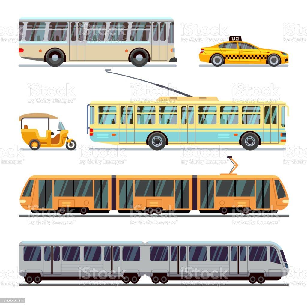 Municipal city transport vector flat icons set vector art illustration