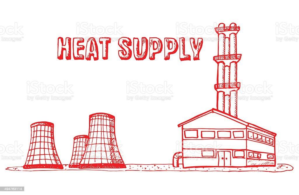 Municipal Equipment, Heating and hot water vector art illustration