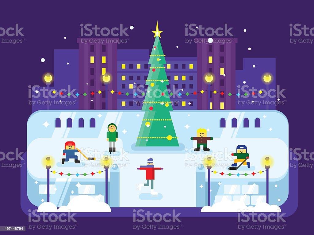 Municipal skating rink Christmas tree vector art illustration