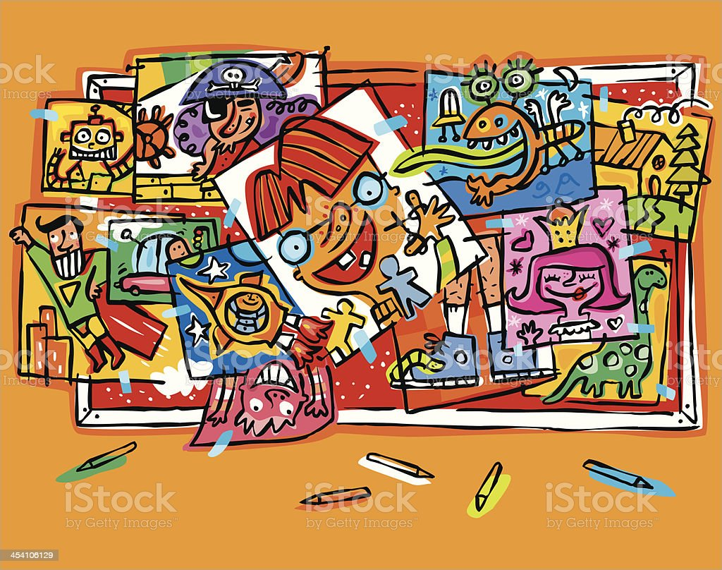 Mural with lots of children's drawings. Collage. royalty-free stock vector art