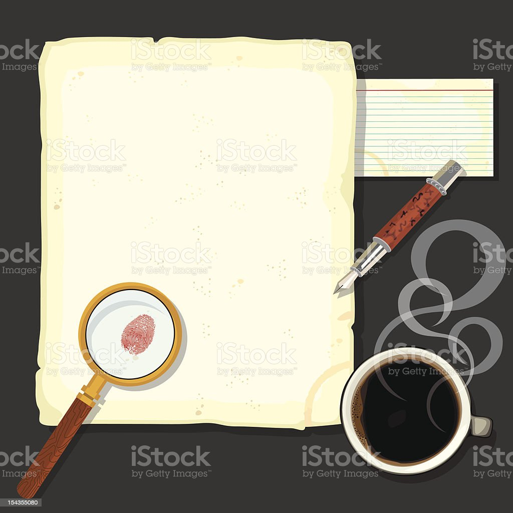Murder Mystery Detectives Desk with steaming coffee royalty-free stock vector art