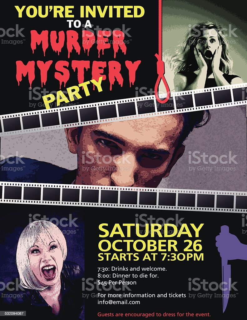 Murder Mystery Dinner Invitation vector art illustration