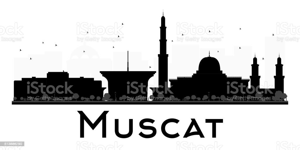 Muscat City skyline black and white silhouette. vector art illustration