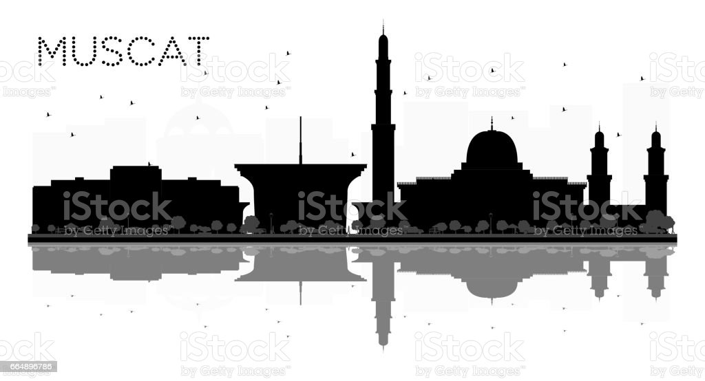 Muscat City skyline black and white silhouette with reflections. vector art illustration