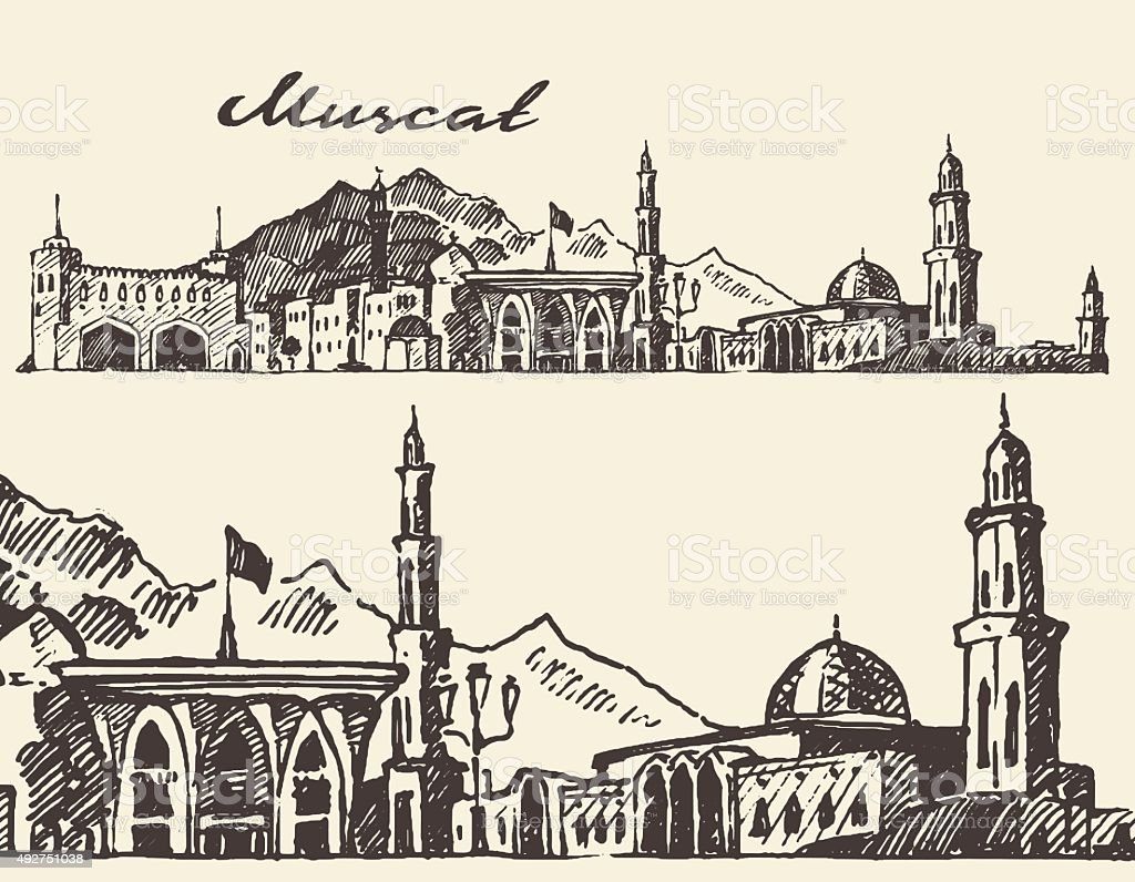 Muscat engraved illustration hand drawn sketch vector art illustration