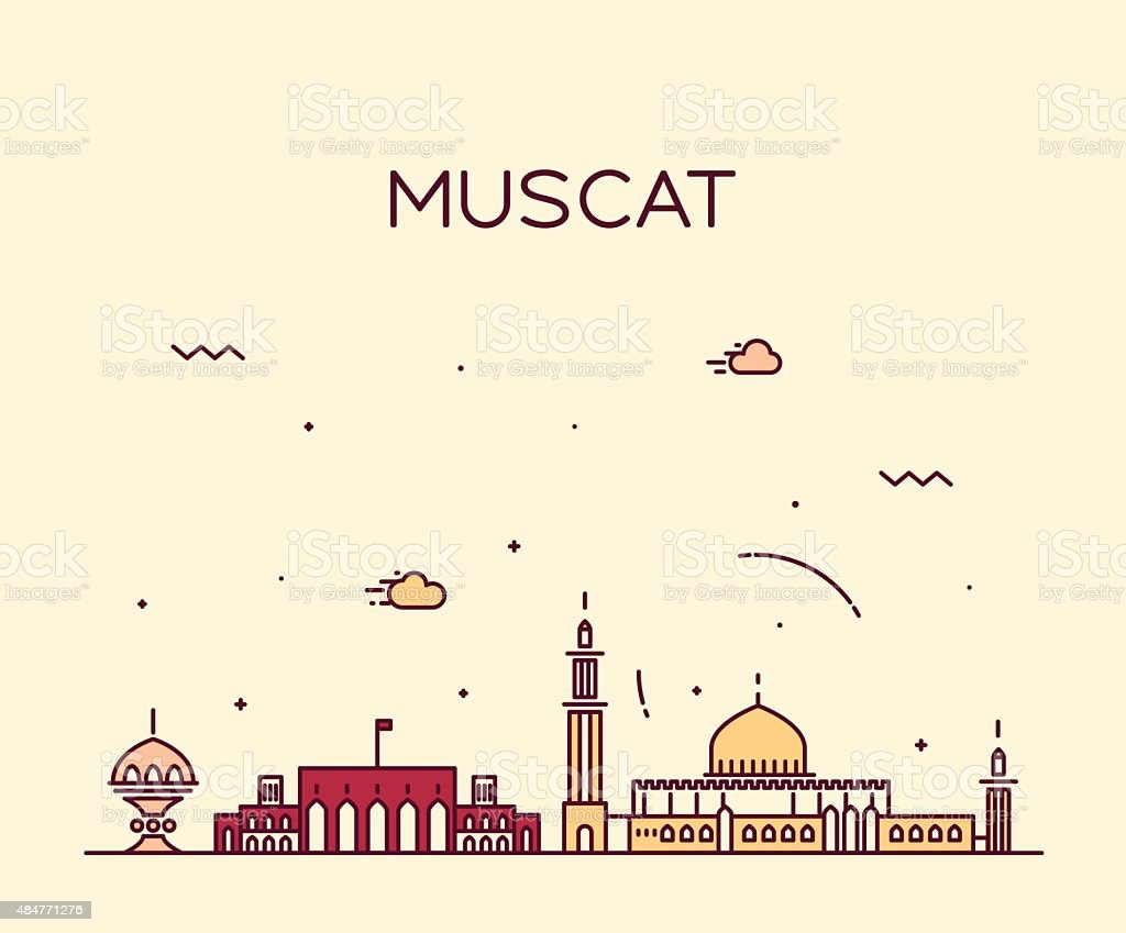 Muscat skyline trendy vector illustration linear vector art illustration