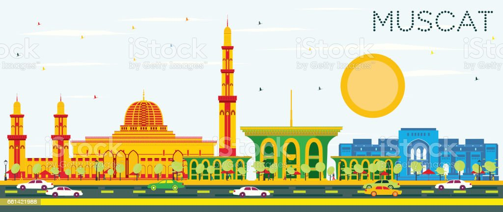Muscat Skyline with Color Buildings and Blue Sky. vector art illustration