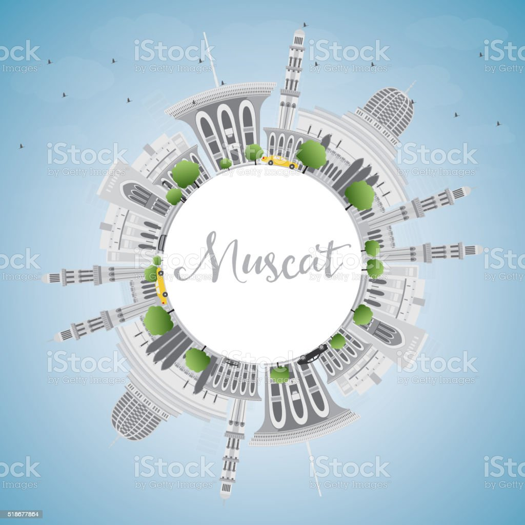 Muscat Skyline with Gray Buildings and Blue Sky. vector art illustration