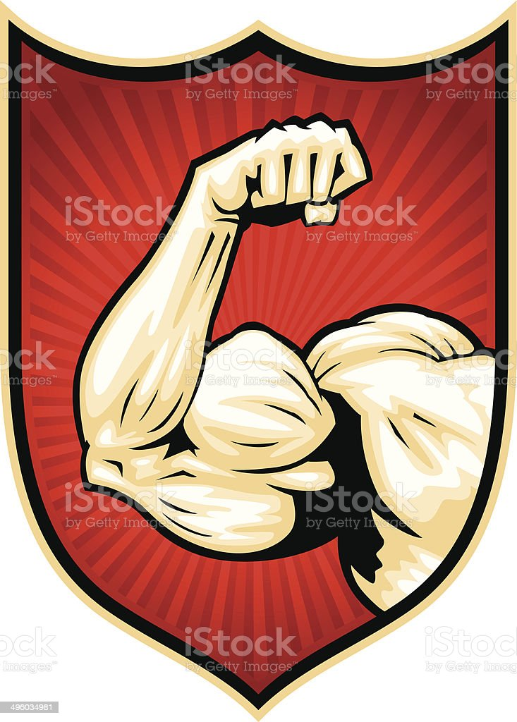 muscle arm badge vector art illustration