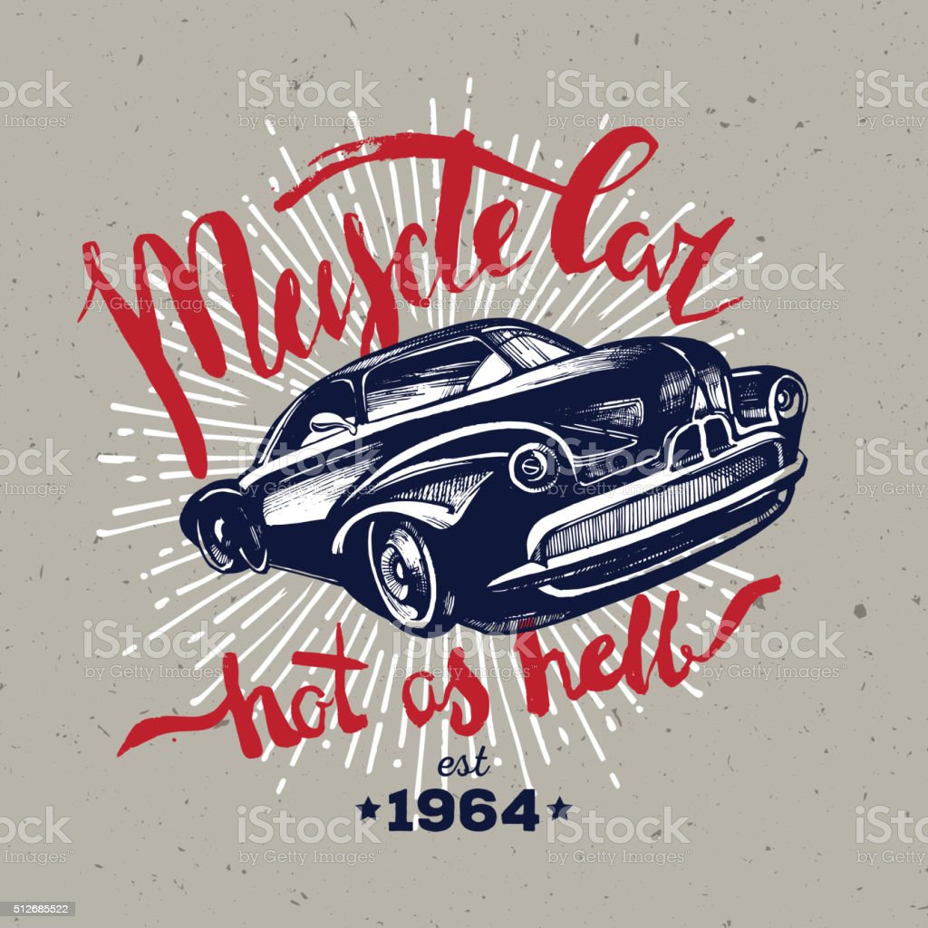 Muscle car. Retro classic vector art illustration