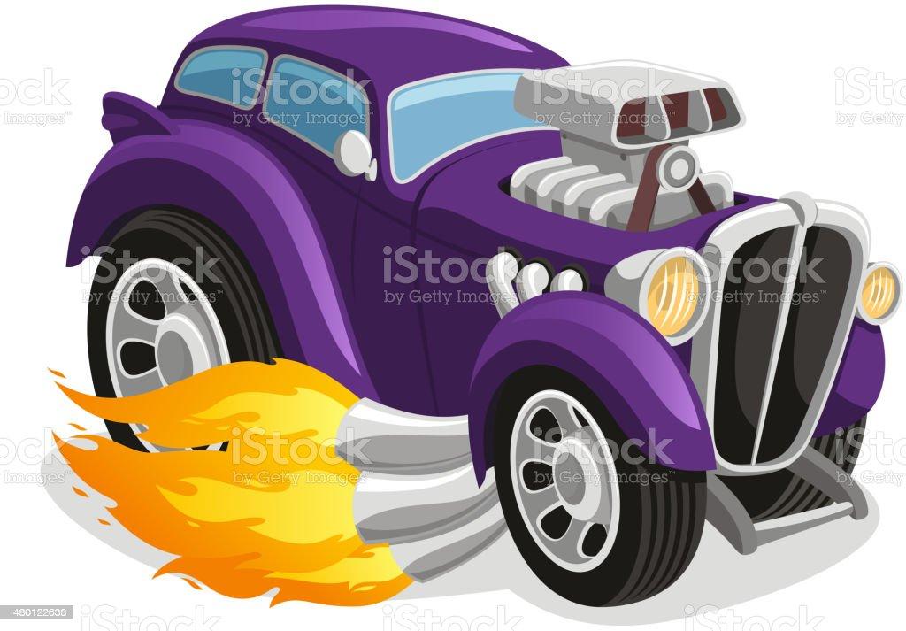 Muscle car smoking flame vector art illustration