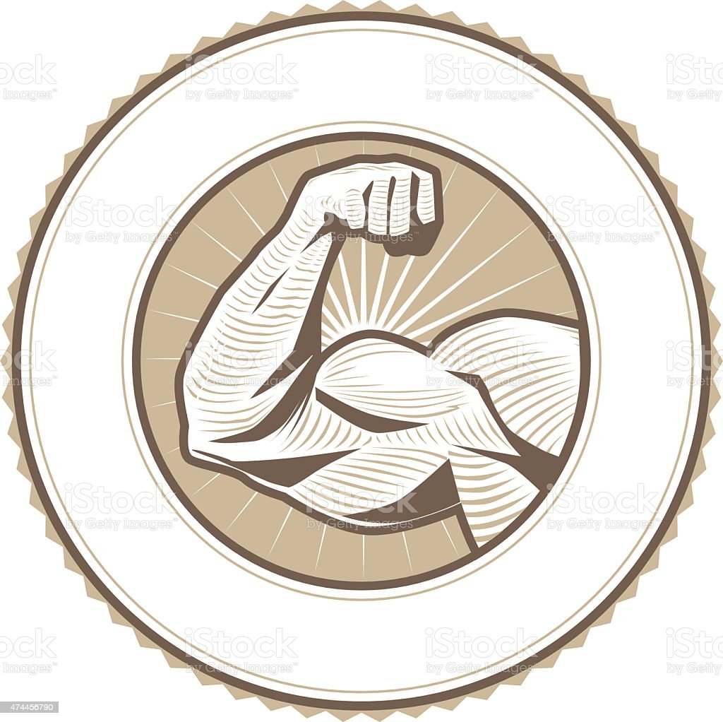 Muscle Flex Label vector art illustration
