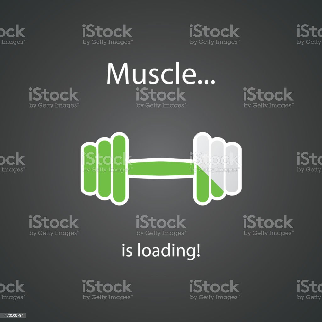 Muscle is Loading - Weight Icon, Workout Sign Design vector art illustration