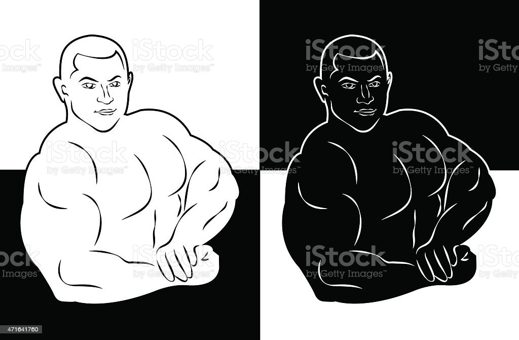 muscle man bodybuilder vector illustration icon vector art illustration