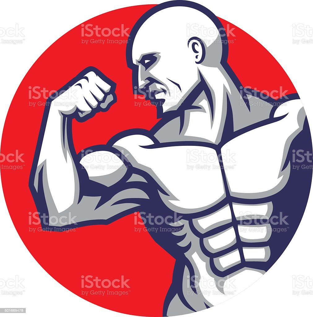 muscle man pose vector art illustration