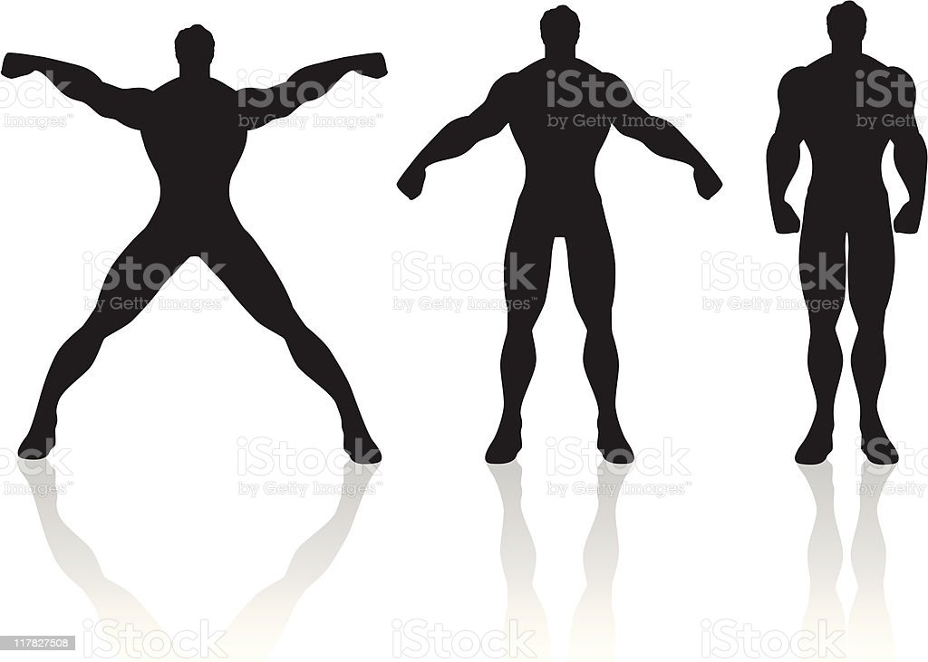 Muscle men silohuettes royalty-free stock vector art