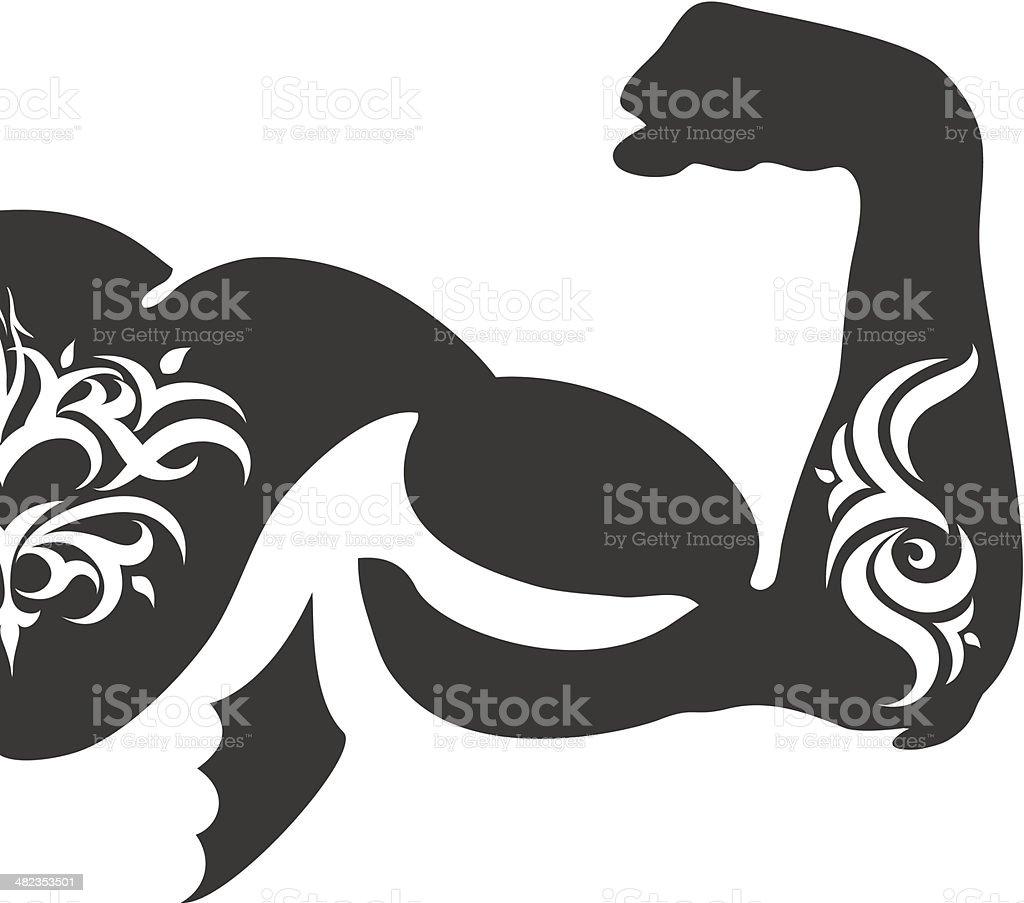 Muscular arm and tattoo vector art illustration