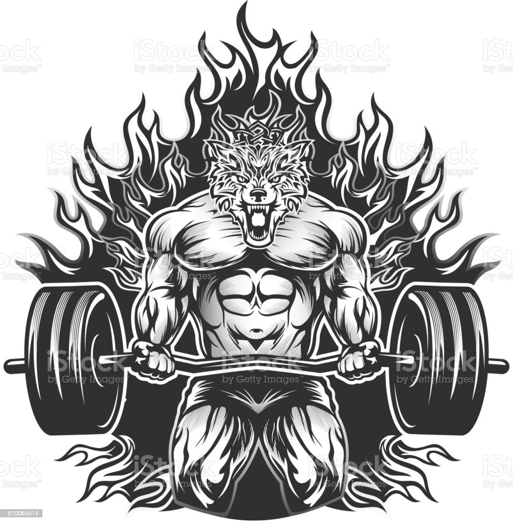 Muscular Bodybuilding Wolf vector art illustration