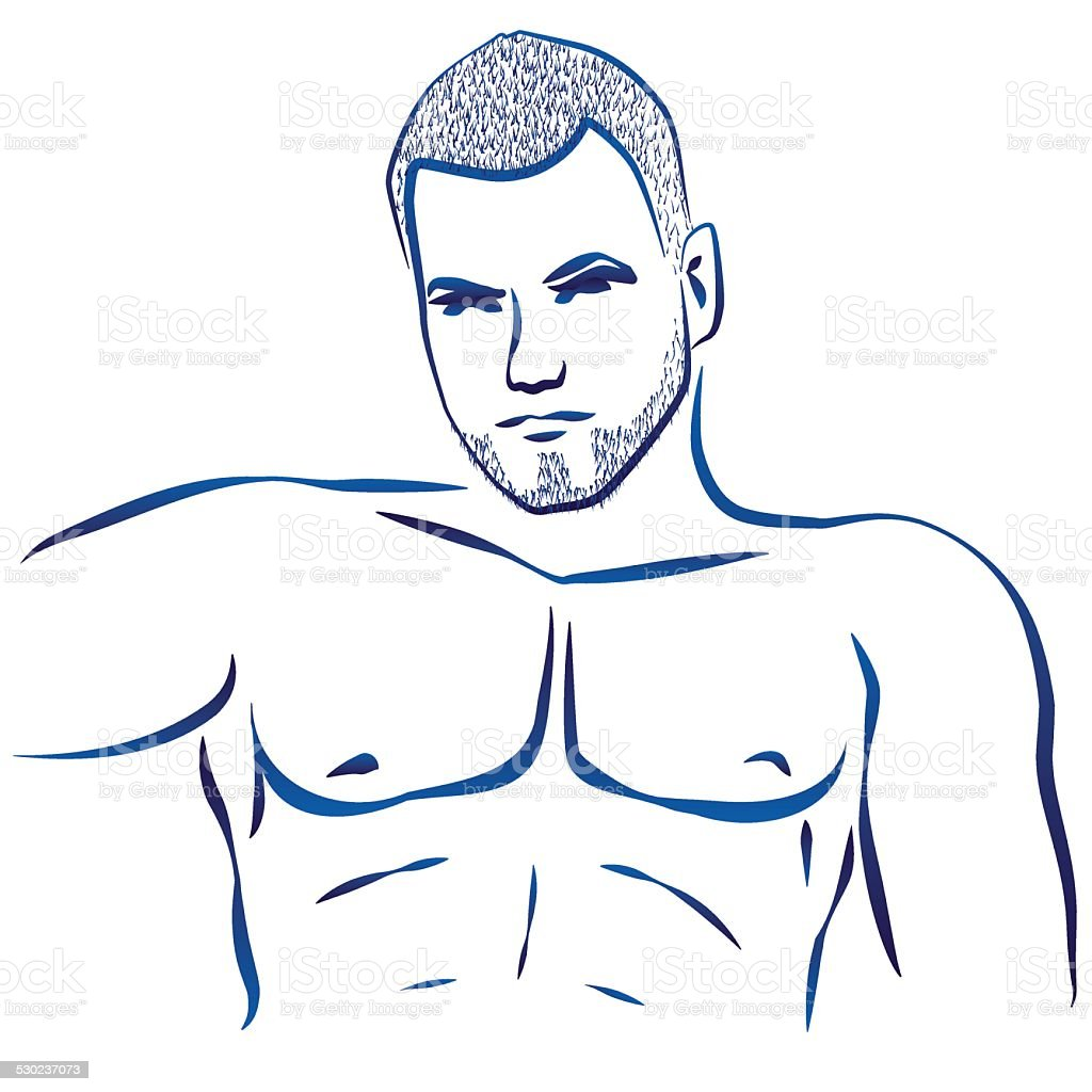 Muscular Hunk Torso vector art illustration