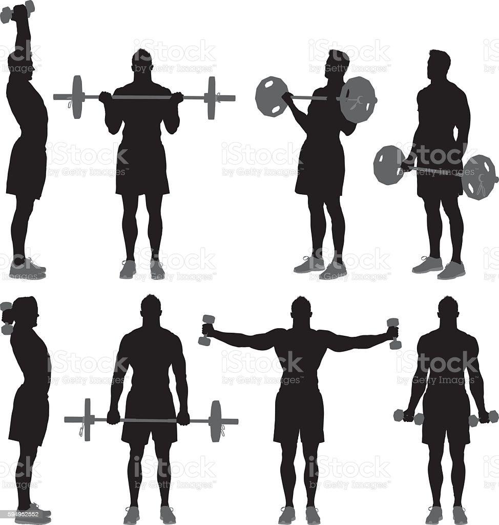Muscular man exercising vector art illustration