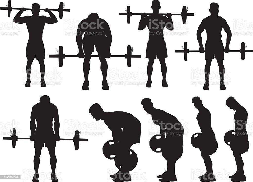 Muscular man exercising with barbells vector art illustration