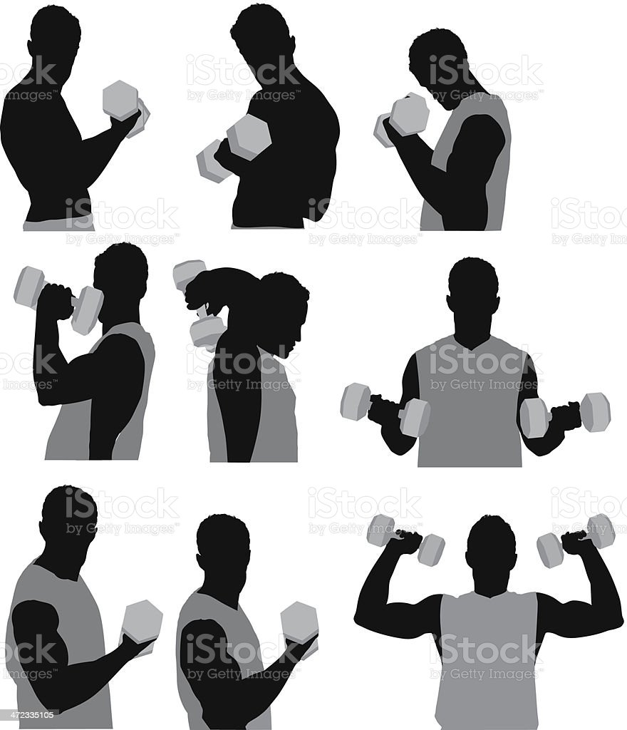 Muscular man exercising with dumbbells royalty-free stock vector art