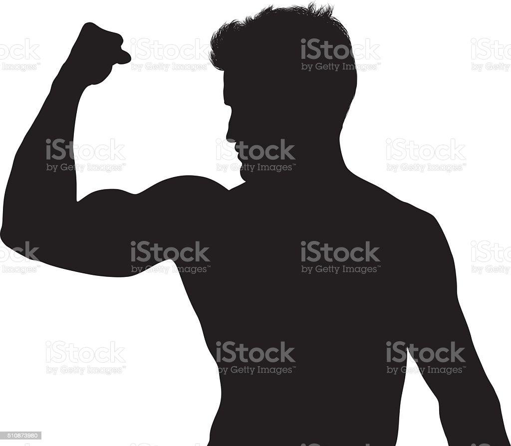 Muscular man flexing vector art illustration