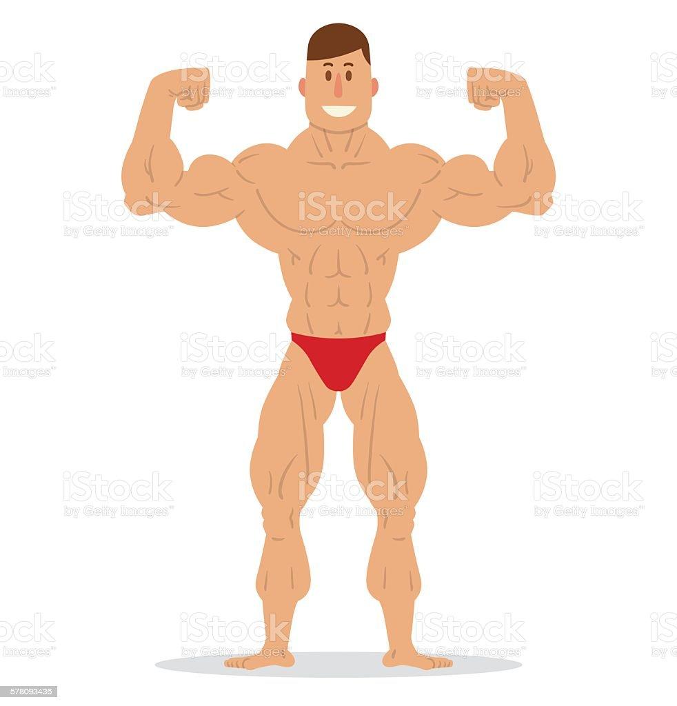 Muscular man in red swimming trunks vector art illustration