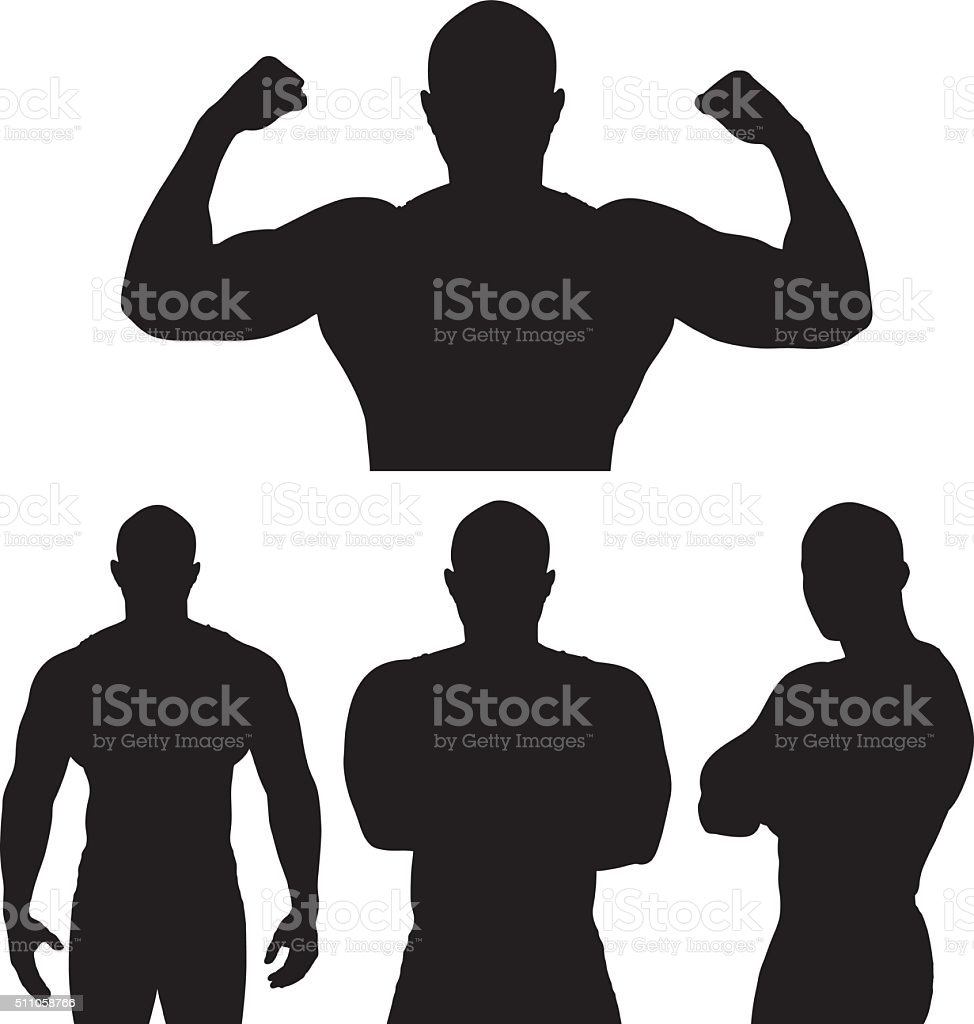 Muscular man in various actions vector art illustration