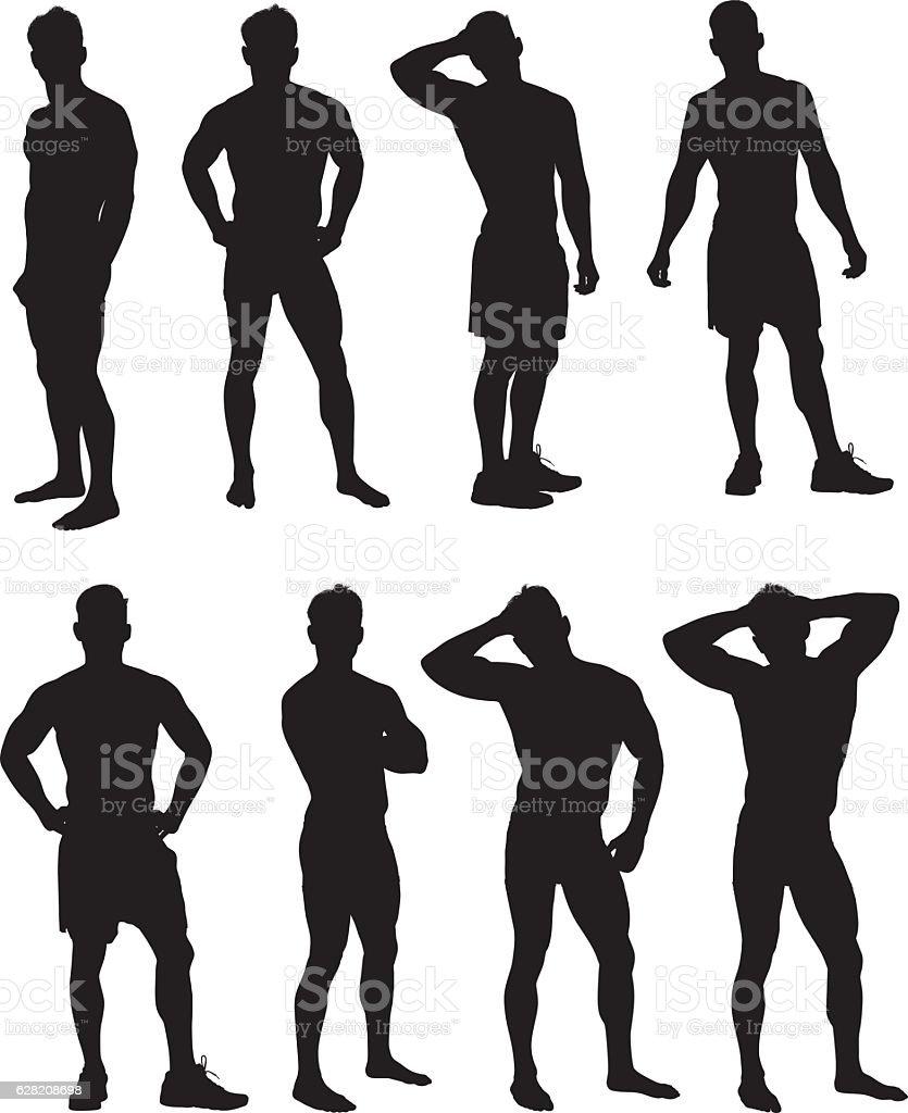 Muscular man in various actions vector art illustration