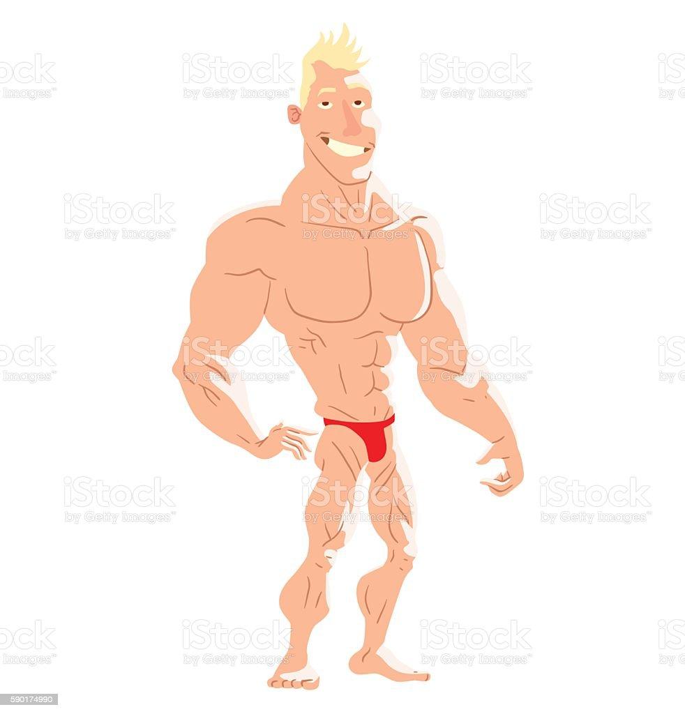 Muscular man on the beach vector art illustration