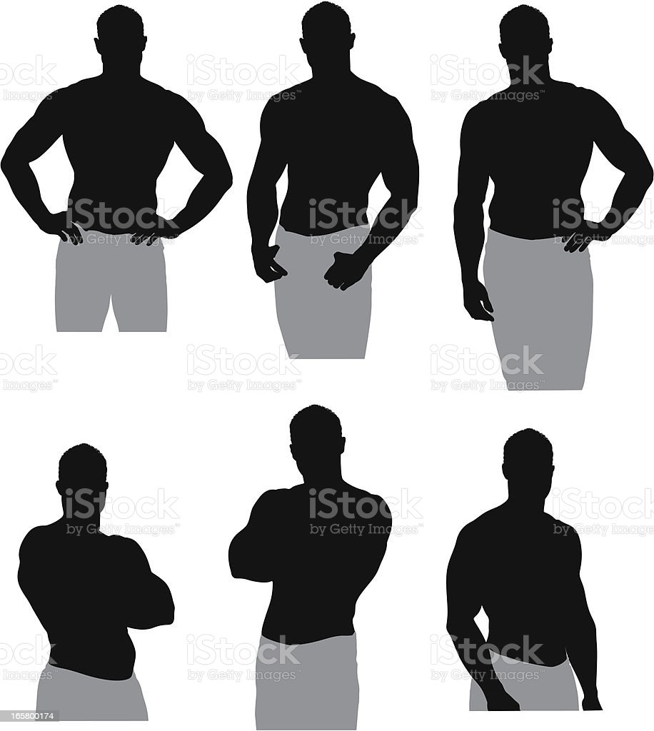 Muscular man posing royalty-free stock vector art