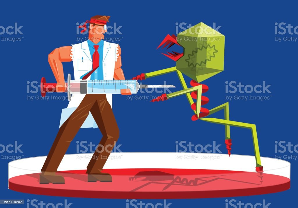 muscular scientist doctor fighting a virus with a vaccine syringe vector art illustration