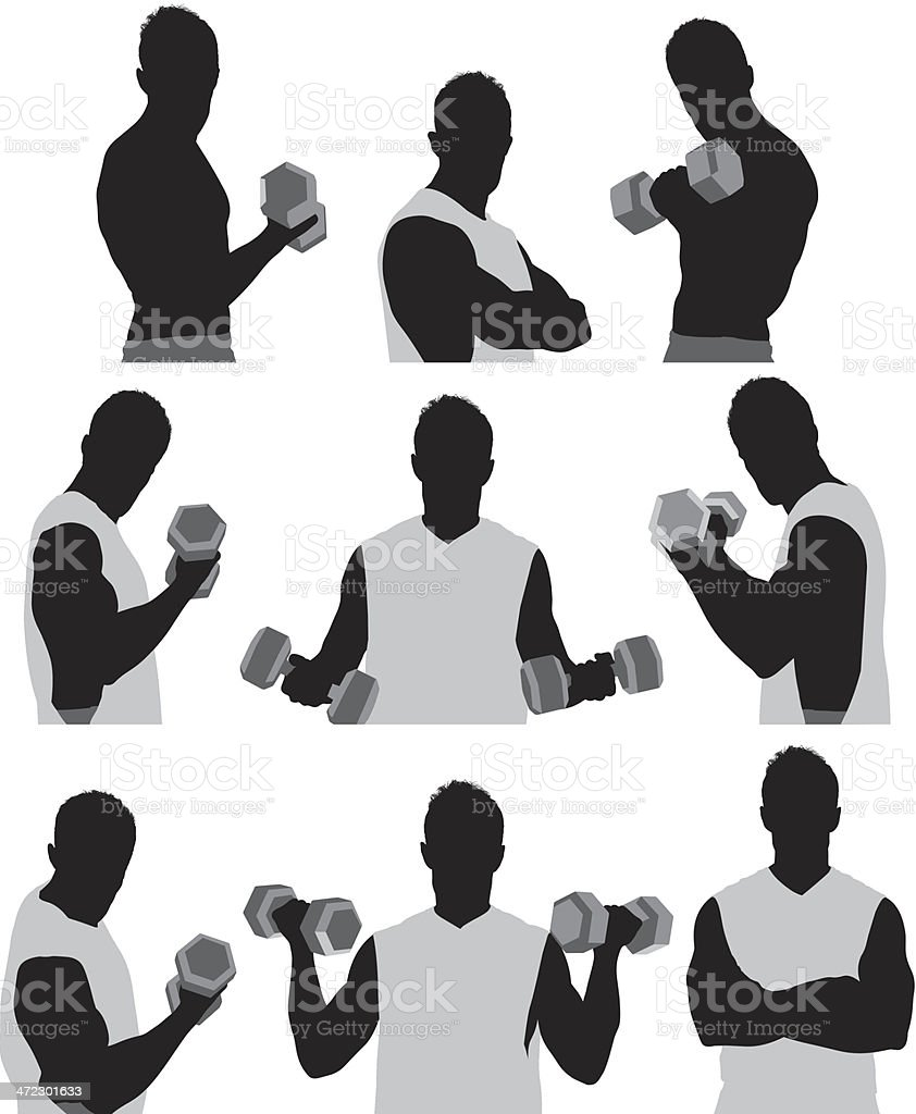 Muscular young man lifting dumbbell royalty-free stock vector art