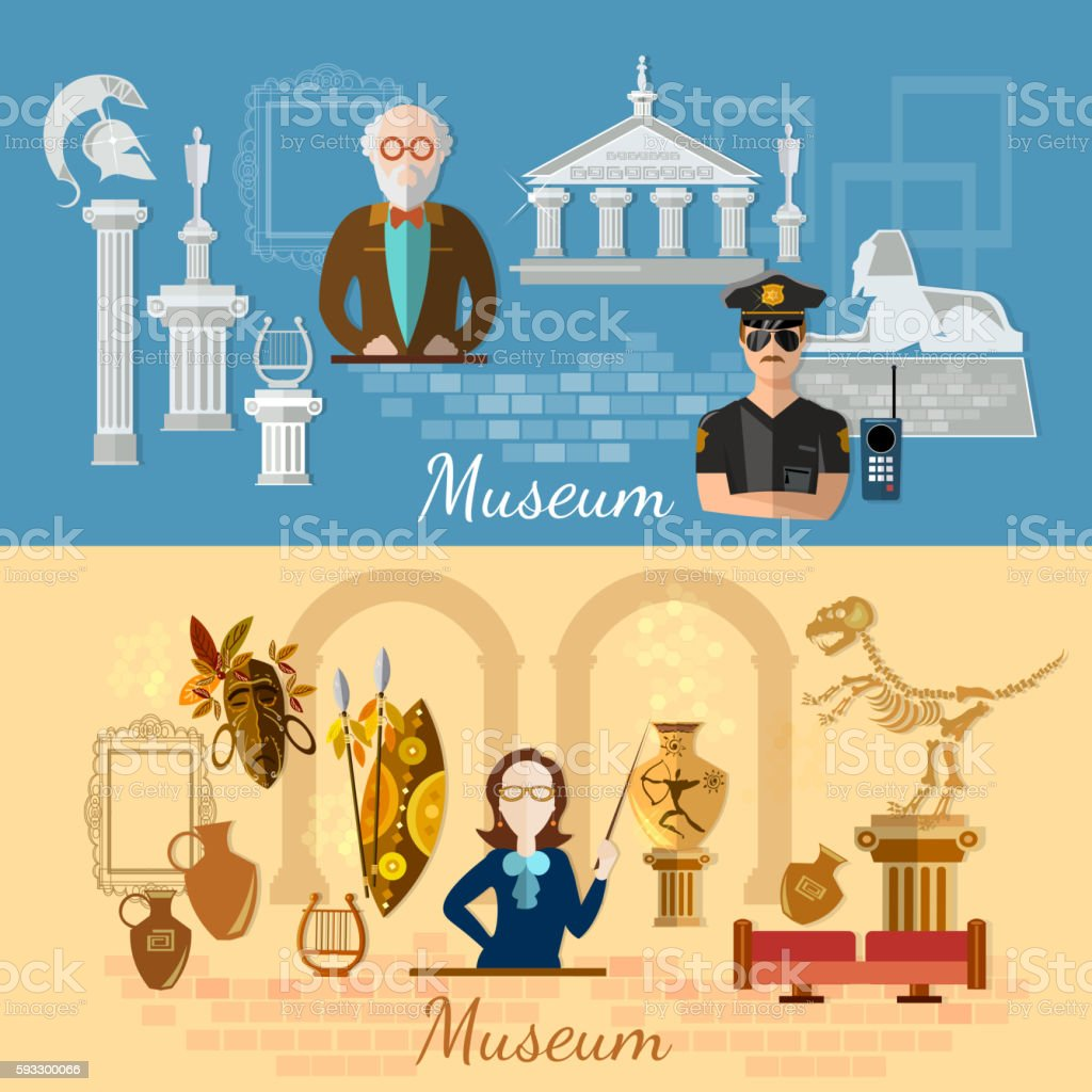 Museum banners history and culture of civilization vector art illustration