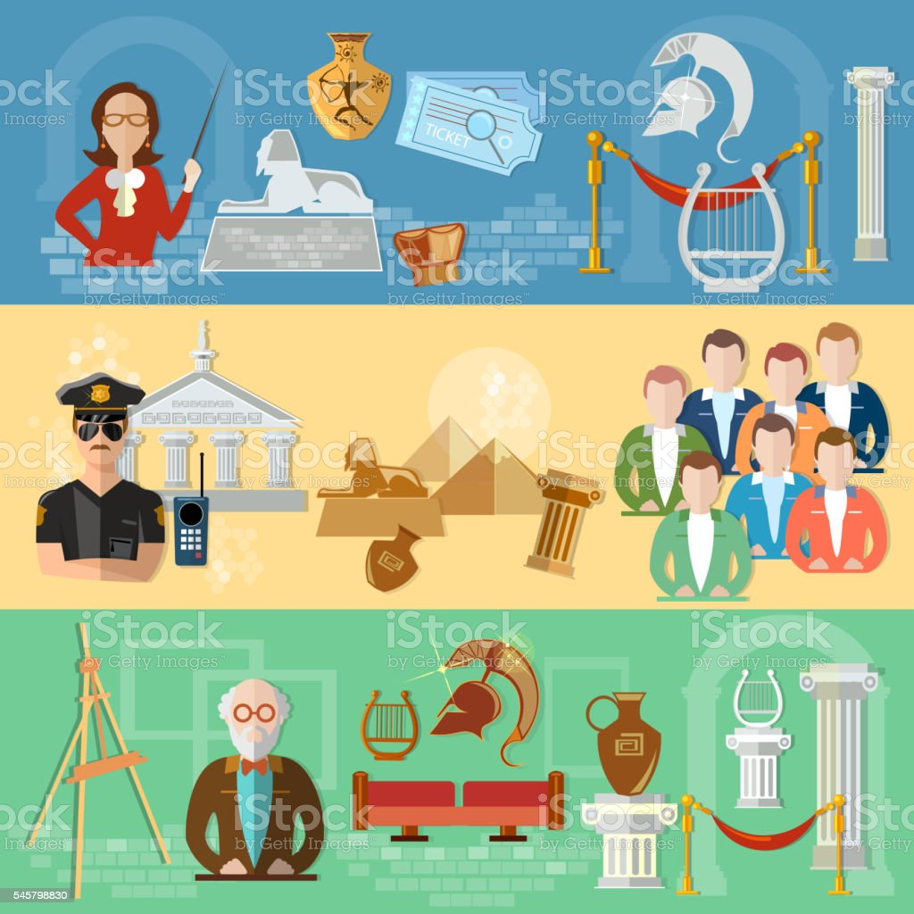 Museum banners tour group of tourists gallery history vector art illustration