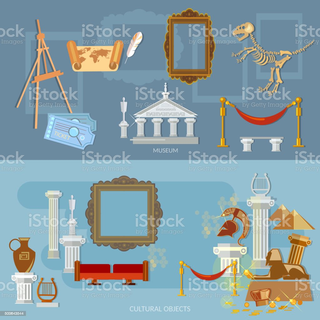 Museum banners vector art illustration