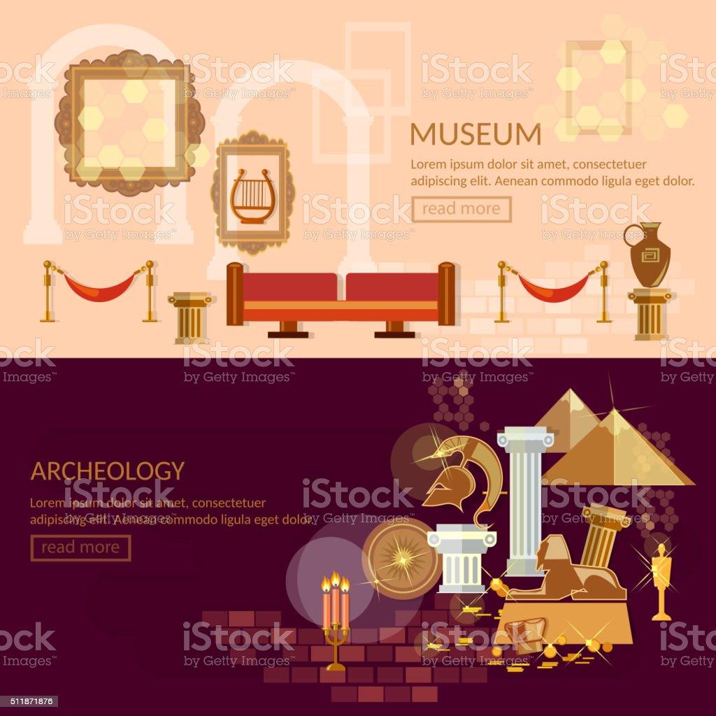 Museum horizontal banner ancient civilizations vector art illustration