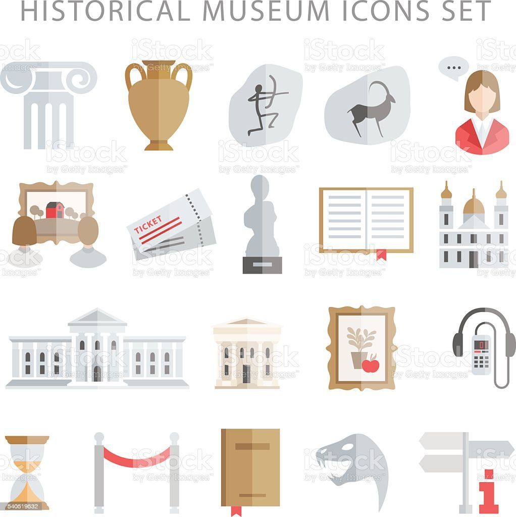 museum icons vector set vector art illustration