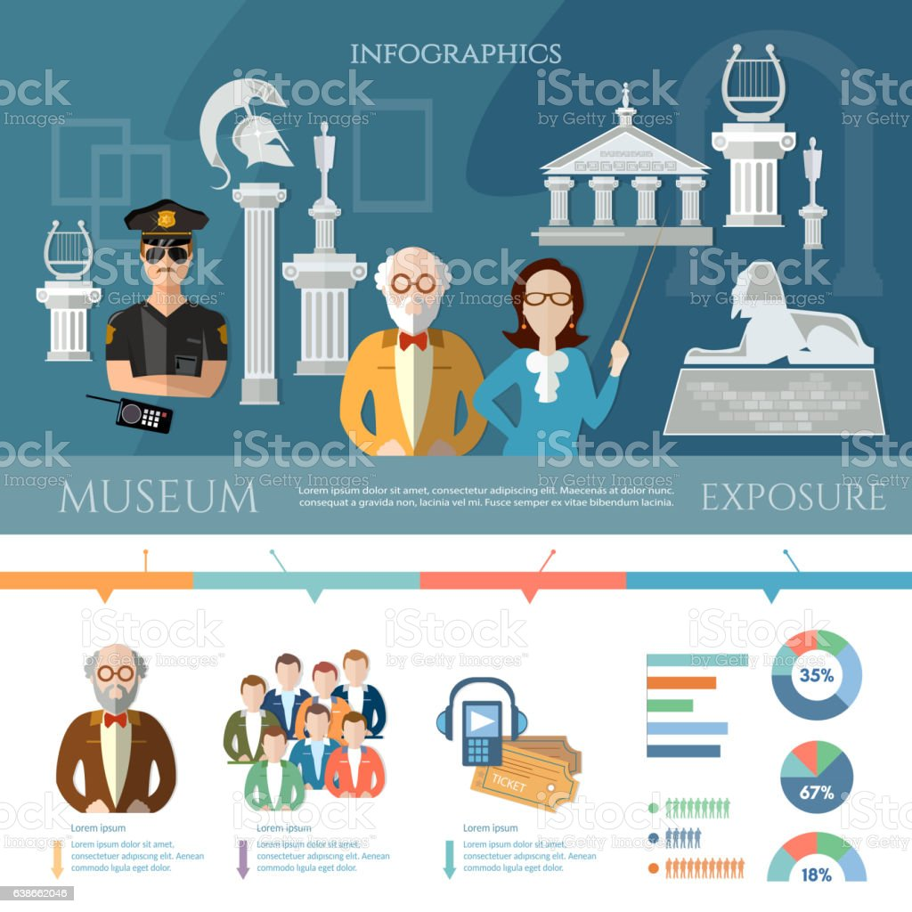 Museum infographics, history and culture of civilization vector art illustration