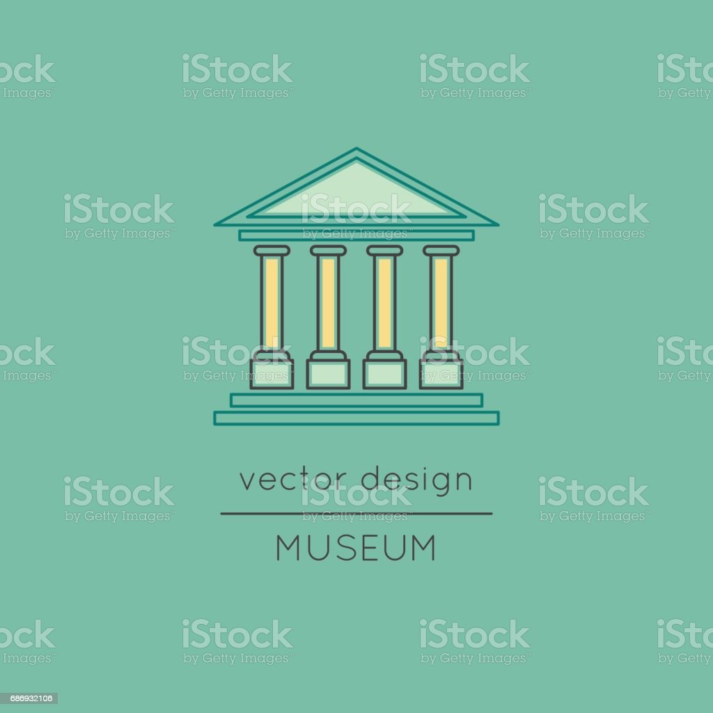 Museum line icon vector art illustration