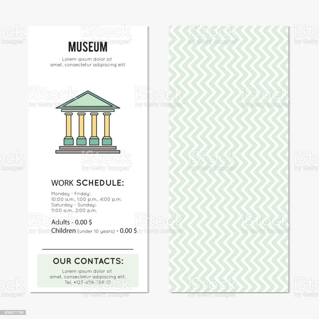 Museum vertical banner vector art illustration
