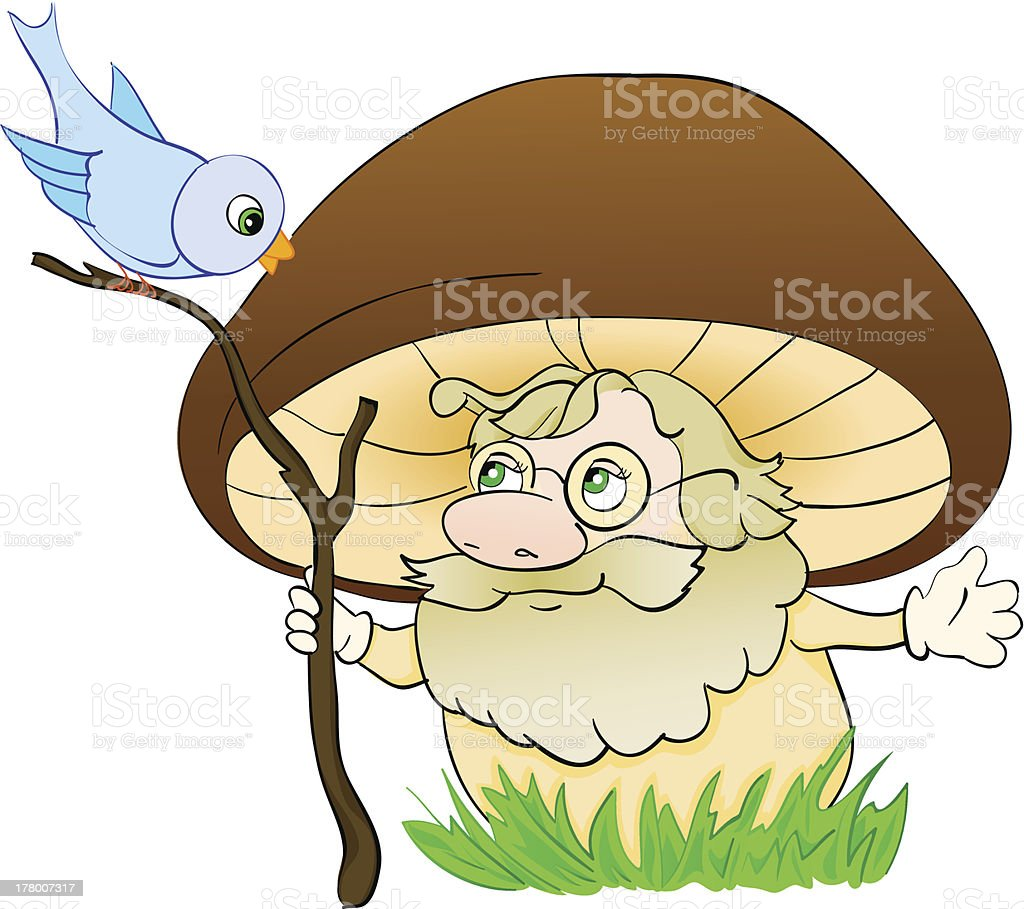 Mushroom cartoon , with isolation on a white background royalty-free stock vector art